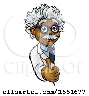 Clipart Of A Happy Male Scientist Holding A Thumb Up Around A Sign Royalty Free Vector Illustration by AtStockIllustration