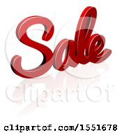 3d Red Sale Text Design With A Reflection
