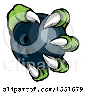 Clipart Of A Green Monster Claw Holding A Bowling Ball Royalty Free Vector Illustration
