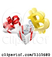 Clipart Of A 3d Golden Bitcoin Currency Symbol Popping Out Of A Gift Box Royalty Free Vector Illustration