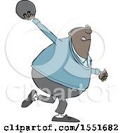 Poster, Art Print Of Cartoon Black Man Swinging A Bowling Ball