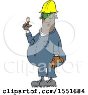Clipart Of A Cartoon Black Male Worker With A Bandaged Finger Royalty Free Vector Illustration