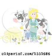 Clipart Of A Blond Female Farmer Ready To Milk A Cow Royalty Free Vector Illustration by Alex Bannykh