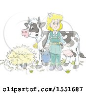 Clipart Of A Blond White Female Farmer Ready To Milk A Cow Royalty Free Vector Illustration