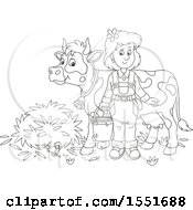 Clipart Of A Lineart Female Farmer Ready To Milk A Cow Royalty Free Vector Illustration