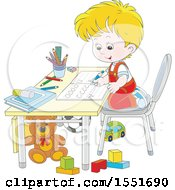 Clipart Of A School Boy Learning To Write Letters Royalty Free Vector Illustration by Alex Bannykh