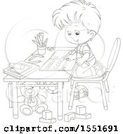 Lineart School Boy Writing Letters