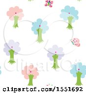 Clipart Of A Butterfly And Tree Pattern Royalty Free Vector Illustration