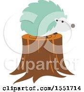 Cute Green Hedgehog On A Stump