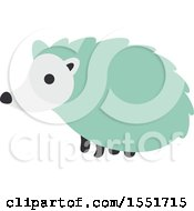 Clipart Of A Cute Green Hedgehog Royalty Free Vector Illustration
