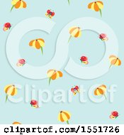 Poster, Art Print Of Cute Daisy And Butterfly Pattern