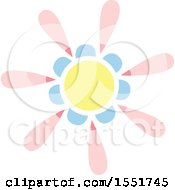 Clipart Of A Pink Blue And Yellow Sun Or Flower Royalty Free Vector Illustration