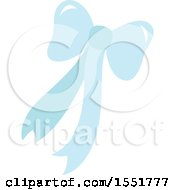 Clipart Of A Blue Bow And Ribbons Royalty Free Vector Illustration