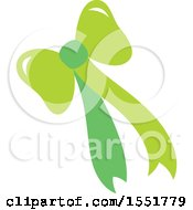 Clipart Of A Green Bow And Ribbons Royalty Free Vector Illustration
