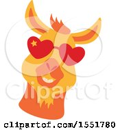 Cute Funky Llama Wearing Heart Sunglasses