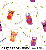 Clipart Of A Funky Llama Pattern Royalty Free Vector Illustration by Cherie Reve