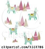 Clipart Of A Peruvian Llama And Mountains Pattern Royalty Free Vector Illustration by Cherie Reve