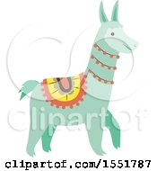 Clipart Of A Cute Peruvian Llama Royalty Free Vector Illustration by Cherie Reve
