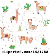 Clipart Of A Peruvian Llama And Cacti Pattern Royalty Free Vector Illustration by Cherie Reve