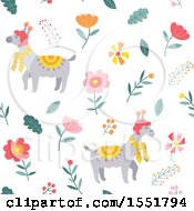 Clipart Of A Spring Time Llama Pattern Royalty Free Vector Illustration by Cherie Reve