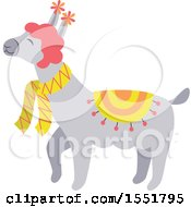 Clipart Of A Spring Time Llama Royalty Free Vector Illustration