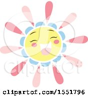 Clipart Of A Happy Pink Blue And Yellow Sun Royalty Free Vector Illustration