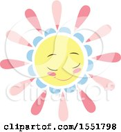 Clipart Of A Happy Pink Blue And Yellow Sun Royalty Free Vector Illustration by Cherie Reve