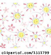 Clipart Of A Happy Pink Blue And Yellow Sun Pattern Royalty Free Vector Illustration by Cherie Reve