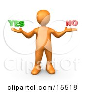 Uncertain Orange Person Shrugging And Weiging Out The Options Of Yes Or No Clipart Illustration Image