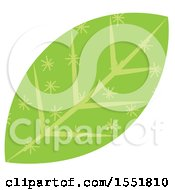 Clipart Of A Green Leaf Royalty Free Vector Illustration