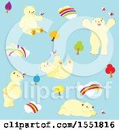 Clipart Of A Cute Polar Bear Enjoying A Nice Day Royalty Free Vector Illustration
