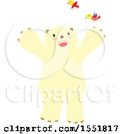 Clipart Of A Cute Polar Bear With Birds Royalty Free Vector Illustration