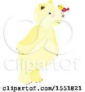 Clipart Of A Cute Polar Bear With A Bird Royalty Free Vector Illustration
