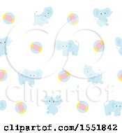 Poster, Art Print Of Cute Blue Baby Elephant And Ball Pattern