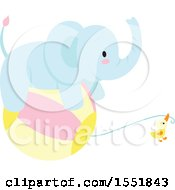 Poster, Art Print Of Cute Blue Baby Elephant And Chick