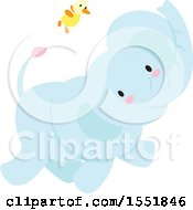 Clipart Of A Cute Blue Baby Elephant And Chick Royalty Free Vector Illustration