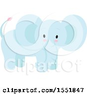 Clipart Of A Cute Blue Baby Elephant Royalty Free Vector Illustration by Cherie Reve
