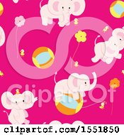 Poster, Art Print Of Cute Pink Baby Elephant Pattern