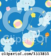 Poster, Art Print Of Cute Blue Baby Elephant Pattern