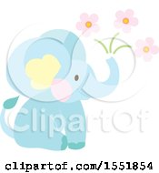 Clipart Of A Cute Blue Baby Elephant And Flowers Royalty Free Vector Illustration