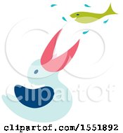 Clipart Of A Cute Pelican Catching A Fish Royalty Free Vector Illustration