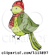 Clipart Of A Bird Wearing A Scarf Royalty Free Vector Illustration