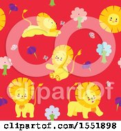 Clipart Of A Cute Male Lion Pattern Royalty Free Vector Illustration