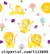 Clipart Of A Cute Male Lion Pattern Royalty Free Vector Illustration by Cherie Reve