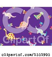 Clipart Of A Polka Dot Dinosaur Pattern Royalty Free Vector Illustration