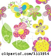 Clipart Of A Crowned Butterfly And Flower Pattern Royalty Free Vector Illustration