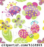 Crowned Ladybug Butterfly And Flower Pattern