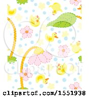 Baby Bird And Flower Pattern