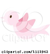 Clipart Of A Flying Pink Baby Bird Royalty Free Vector Illustration