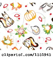Clipart Of A Cute Forest Animal And Autumn Pattern Royalty Free Vector Illustration by Cherie Reve